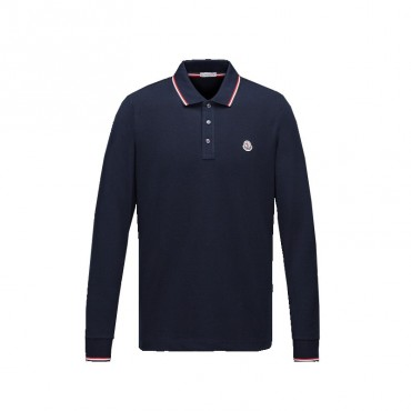 LONG SLEEVE POLO SHIRT MARINE
