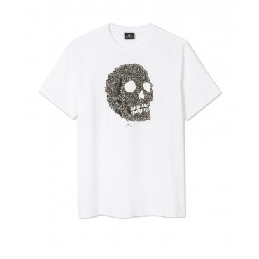 MENS SLIM FIT TSHIRT SKULL WHI