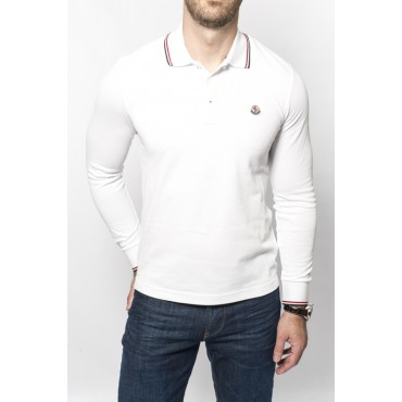 Polo MONCLER manches longues blanc